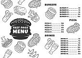 Fast food menu template. Burgers, pizza, beverages. Print design with linear icons. Concept vector illustrations. Restaurant, cafe banner, flyer brochure page with food prices layout