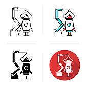 Aerospace industry icon. Aviation sector. Spacecraft construction and launch preparations. Rocket assembly. Missile building. Flat design, linear and color styles. Isolated vector illustrations