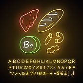 Vitamin B9 neon light icon. Bread, liver and pasta. Meat and flour products. Healthy eating. Folic acid natural food source. Glowing sign with alphabet, numbers, symbols. Vector isolated illustration