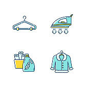 Laundry, clothes care blue and yellow RGB color icons set. Delicate fur dry cleaning and ironing. Fabric softener and clean towels basin, hangers and outerwear. Isolated vector illustrations