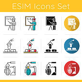 Industry types icons set. Education, pharmaceutical, arms sectors of economy. Goods and services production. Flat design, linear, black and color styles. Isolated vector illustrations