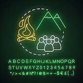 Mountain camp neon light concept icon. Summer hiking club, holiday resort idea. Travelling in mountains, rock climbing. Glowing sign with alphabet, numbers and symbols. Vector isolated illustration