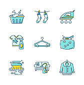 Laundry and cleanup service blue and yellow RGB color icons set. Handwash, stain removal and outdoor drying, fabric ironing. Fur, furniture and pillow dry cleaning. Isolated vector illustrations
