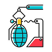 Arms industry blue color icon. Defense technology. Military sector. Weapon development, production. Preparing for war. Automatic grenades production line. Isolated vector illustration