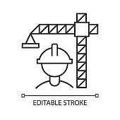 Construction industry linear icon. Building sector. Crane builder in helmet. Real estate development. Thin line illustration. Contour symbol. Vector isolated outline drawing. Editable stroke