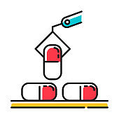 Pharmaceutical industry red color icon. Drug sector. Conveyor automatic pills production line at factory. Capsules manufacturing. Pharmacological products creation. Isolated vector illustration