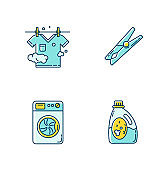 Clothes cleaning items blue and yellow RGB color icons set. Clothing washing and outdoor drying. Washing machine and laundry detergent, clothespin and clothesline. Isolated vector illustrations