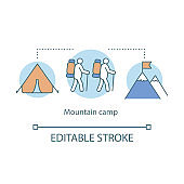 Mountain hiking, trekking camp concept icon. Summer camping holiday resort idea thin line illustration. Travelling in mountains, rock climbing. Vector isolated outline drawing. Editable stroke