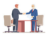 Senior boss hiring employee flat vector illustration. Successful partner negotiations. Job offer. Top manager handshaking with new worker, job seeker isolated cartoon characters on white background