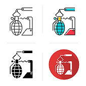 Arms industry icon. Defense technology. Military sector. Weapon development, production. Automatic grenades production line. Flat design, linear and color styles. Isolated vector illustrations