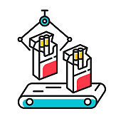 Tobacco industry color icon. Conveyor automatic cigarette production line. Products for smokers plant. Manufacturing of packs of cigarettes on factory. Isolated vector illustration