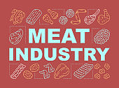 Butchery, meat industry word concepts banner. Farmer market presentation, website. Isolated lettering typography idea with linear icons. Natural barbecue ingredients vector outline illustration
