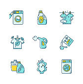 Laundry types blue and yellow RGB color icons set. Coin wash service, washing machine, steam and eco dry cleaning. Laundry detergents and fabric care agents. Isolated vector illustrations