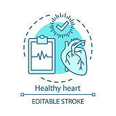 Healthcare, healthy heart concept icon. Medical treatment idea thin line illustration. Diseases diagnostics. Clipboard with cardiogram and check mark vector isolated outline drawing. Editable stroke