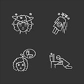 Early pregnancy symptom chalk white icons set on black background. Lady with dizziness. Woman fainting. Frequent urination urge. Vomiting from nausea. Isolated vector chalkboard illustrations