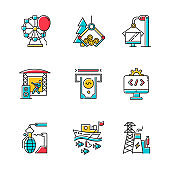 Industry types color icons set. Entertainment, timber, computer, music, financial services, software, arms, fishing, energy sectors of economy. Business spheres. Isolated vector illustrations