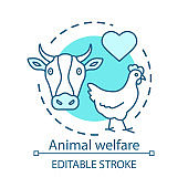 Animal welfare, protection concept icon. Voluntary wildlife care idea thin line illustration. Veterinary clinic. Heart symbol, chicken and cow vector isolated outline drawing. Editable stroke