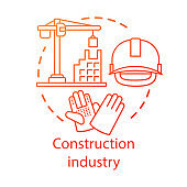 Construction industry concept icon. Building sector. Crane, house, hard hat, work gloves. Real estate engineering idea thin line illustration. Vector isolated outline drawing. Editable stroke