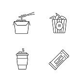 Takeaway food pixel perfect linear icons set. Customizable thin line symbols. Bucket of chicken wings, chinese noodles, coffee to go. Take away meal. Vector isolated outline drawing. Editable strokes
