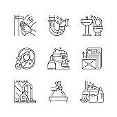 Housekeeping chores linear icons set