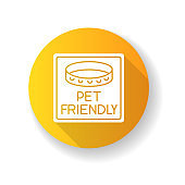 Pet friendly area sign yellow flat design long shadow glyph icon. Domestic animals with collars allowed. Cats and dogs welcome, permitted public place. Silhouette RGB color illustration