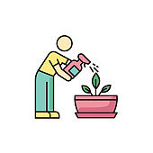 Spraying plants RGB color icon. Misting. Moisturizing, rehydrating, moistening. Houseplant care. Plant growing, planting process. Indoor gardening. Isolated vector illustration