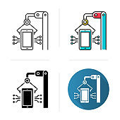 Electronics industry icon. Smartphone and tablet production. Electronic devices factory. Technical machinery. Hardware repair. Flat design, linear and color styles. Isolated vector illustrations