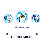 Mental wellness concept icon. Psychological health idea thin line illustration. Stress management. Positive thinking. Human intelligence. Vector isolated outline RGB color drawing. Editable stroke