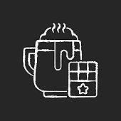 Hot chocolate chalk white icon on black background