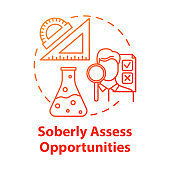 Soberly assess opportunities concept icon. Specialty selection. Scientific knowledge level. Choice of direction of study idea thin line illustration. Vector isolated outline drawing