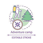 Adventure camp concept icon. Summer hiking and camping club, holiday resort idea thin line illustration. Backpacking in woods, travelling in forest. Vector isolated outline drawing. Editable stroke