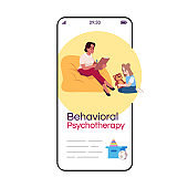 Behavioral psychotherapy cartoon smartphone vector app screen. Child therapy. Psychoanalysis. Mobile phone display with flat character design mockup. Application telephone cute interface