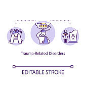 Trauma related disorders concept icon. Mental illness idea thin line illustration. Psychological problems. Post traumatic stress. Vector isolated outline RGB color drawing. Editable stroke