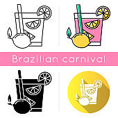 Caipirinha icons set. Linear, black and RGB color styles. Brazilian cocktail. Alcoholic beverage with lemon. Traditional drink. All-day cocktail. National potation. Isolated vector illustrations