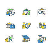Credit color icons set. Borrowing from retirement. Student loan debt. Paying for university education. Trading, retail. Revolving credit. Heavy credit card risk. Isolated vector illustrations
