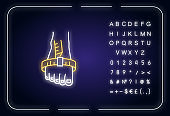 Foot joint circumference neon light icon