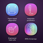 Bioengineering app icons set. Paper-based diagnostics, adaptable prosthetics, engineered heart cells, DNA microarrays. UI/UX user interface. Web or mobile applications. Vector isolated illustrations