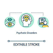 Psychotic disorders concept icon. Mental illness idea thin line illustration. Psychological problems. Panic attack. Psychosis. Vector isolated outline RGB color drawing. Editable stroke