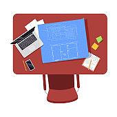 Architect workplace semi flat RGB color vector illustration