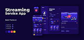Live streaming service app screen vector adaptive design template. Video blogging application night mode interface with flat characters. Public broadcasting smartphone, tablet, smart watch cartoon UI