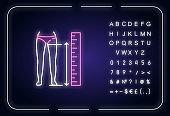 Inside leg length neon light icon