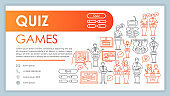 Quiz games web banner, business card vector template. Question contest contact page with phone, email linear icons. Entertainment presentation, web page idea. TV show corporate print design layout