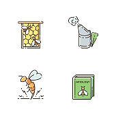 Bee farming RGB color icons set
