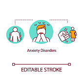 Anxiety disorders concept icon. Mental illness idea thin line illustration. Phobias. Stress management. Obsessive compulsive disorder. Vector isolated outline RGB color drawing. Editable stroke