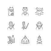 Japan pixel perfect linear icons set. Maneki neko. Geisha woman. Mount Fuji. Samurai and ninja. Customizable thin line contour symbols. Isolated vector outline illustrations. Editable stroke