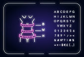 Woman body proportions neon light icon
