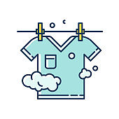 Outdoor drying blue and yellow RGB color icon. Laundry, clothesline, outside clothes drying. T-shirt hanging on rope, clean summer clothing, washed garment. Isolated vector illustration
