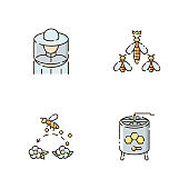 Beekeeping business RGB color icons set