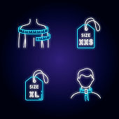 Clothing size tags and body measuring neon light icons set