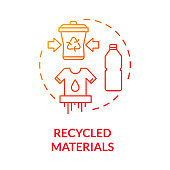 Recycled materials red gradient concept icon